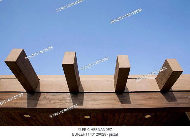 Close-up of wooden planks against the clear blue sky; Dana Point; California; USA