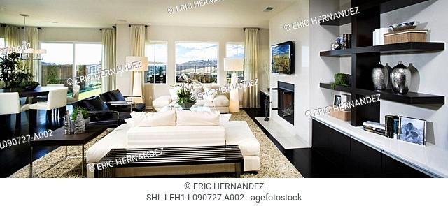 Modern living room, panoramic