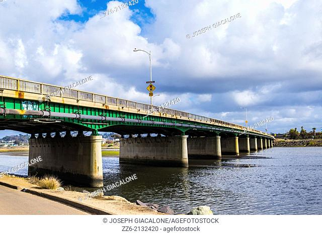 Sports Arena Blvd Bridge crossing over the San Diego River. San Diego, California, United States