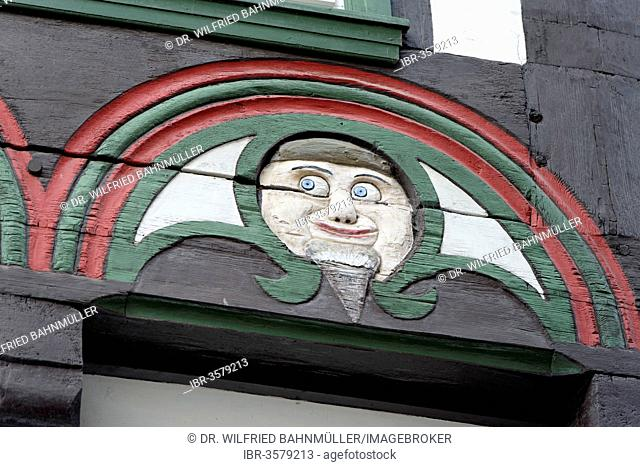 Decorations on a half-timbered house, Brodhaus, Einbeck, Lower Saxony, Germany