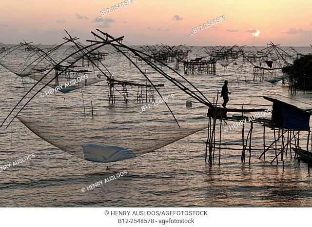 Shore-operated lift net, on sunrise, Phatthalung, Southern Thailand