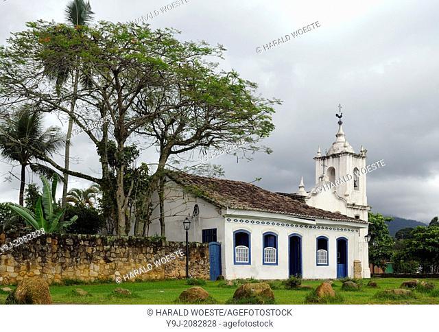 The church Igreja Nossa Senhora das Dores in the historic centre of Paraty, Espirito Santo, Brazil. The beautiful colonial town of Paraty has been a UNESCO...