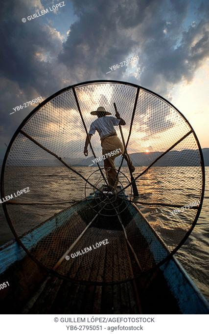Fisherman at work at the Inle Lake, Nyaungshwe, Myanmar