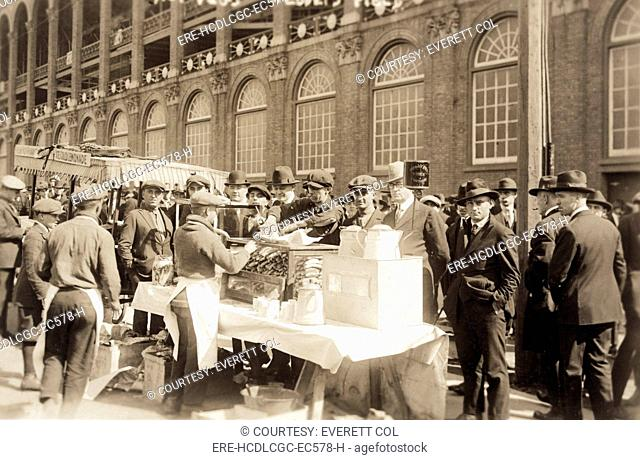 Baseball. Hot Dog vendors sell to fans at Ebbets Field, Brooklyn, New York. October 6, 1920