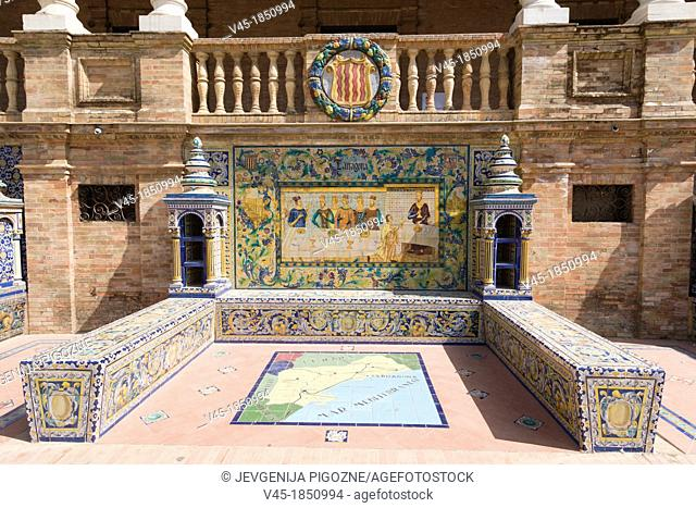One of the tiled Province Alcoves along the walls of The Plaza de España , Spain Square, The Maria Luisa Park,Parque de Maria Luisa, Seville, Sevilla, Andalusia
