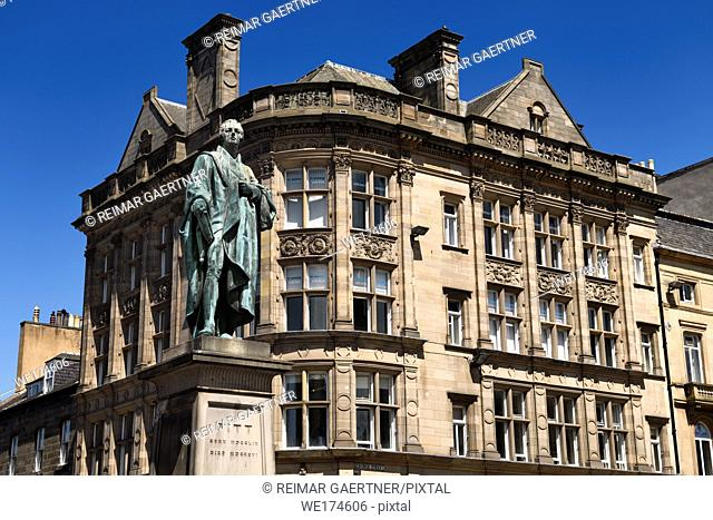 Bronze statue of William Pitt the Younger a British Prime Minister on George and Frederick streets Edinburgh Scotland with historic buildings