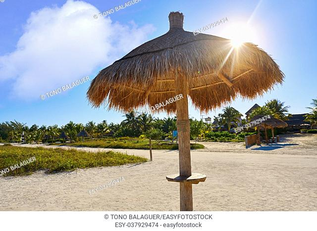 Holbox Island beach sunroof palapa in Quintana Roo of Mexico