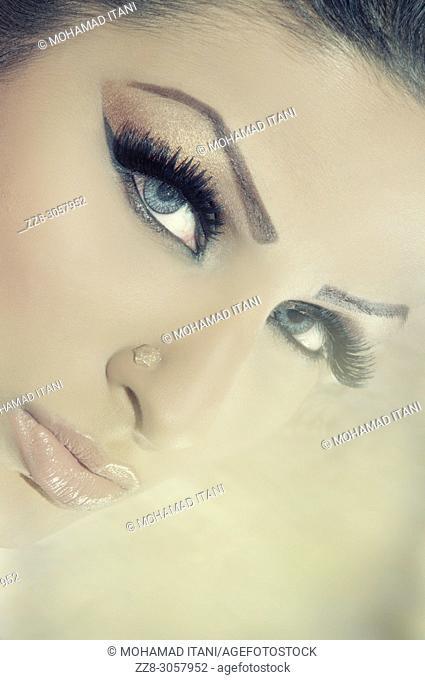 Close up of a beautiful woman staring