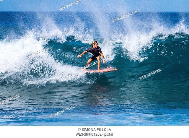 Spain, Tenerife, boy surfing