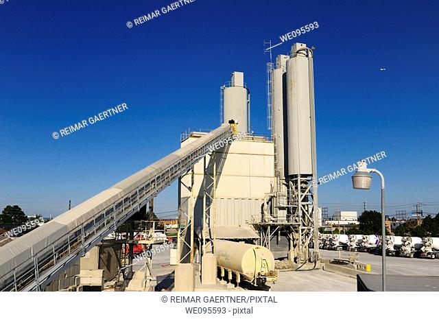 Long crushed limestone conveyer belt at a Toronto cement factory