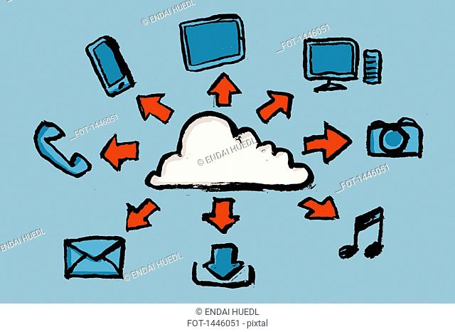 Illustrative image of cloud computing against blue background