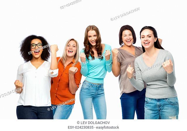 gesture, success, friendship, body positive and people concept - group of happy different size women in casual clothes celebrating victory