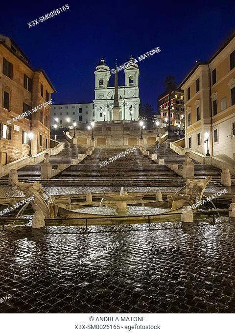 Piazza di Spagna Spanish steps at night Rome Italy