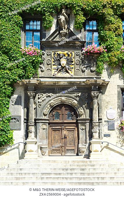 City Hall, Entrance door, Quedlinburg, Harz, Saxony-Anhalt, Germany, Unesco World Heritage Site