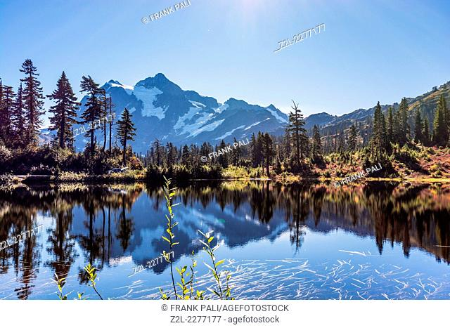 Reflection of Mount Shuksan in Picture Lake, Mt. Baker-Snoqualmie National Forest, Washington, United States of America