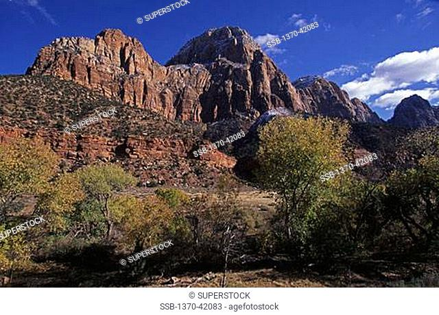 Low angle view of rock formations, Zion National Park, Utah, USA
