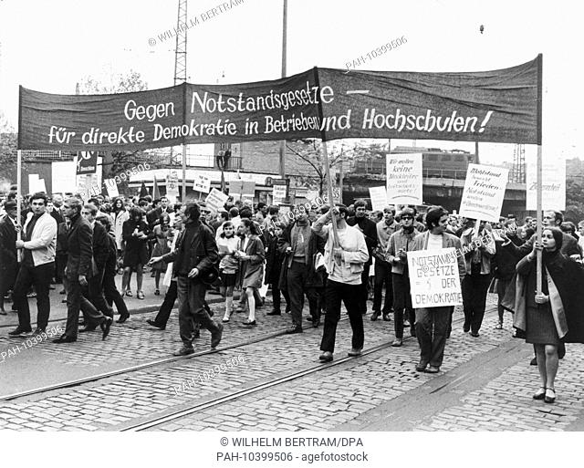 Pupils and students at a protest march against the German Emergency Acts on May 15,1968 in Düsseldorf, the day of the second reading of the laws in the German...