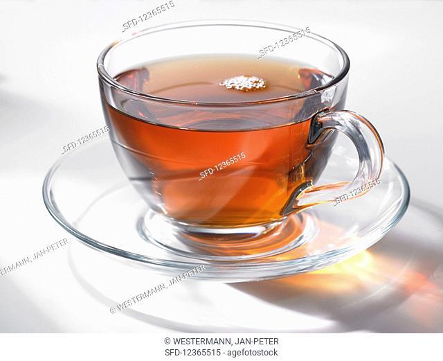 East Friesian tea in a glass cup