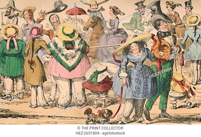 'Cruikshank's Exhibition of Bloomers in Hyde Park, 1852', c1870. George Cruikshank's original satirical etchings first published for The Comic Almanack in 1852