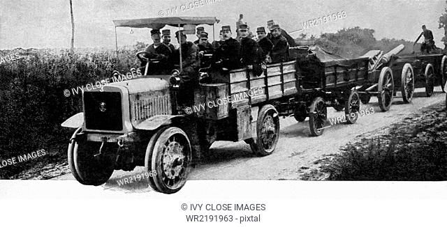 Motor trucks proved invaluable in World War I in drawing heavy siege guns and supplies more rapidly than it would have been possible with horses