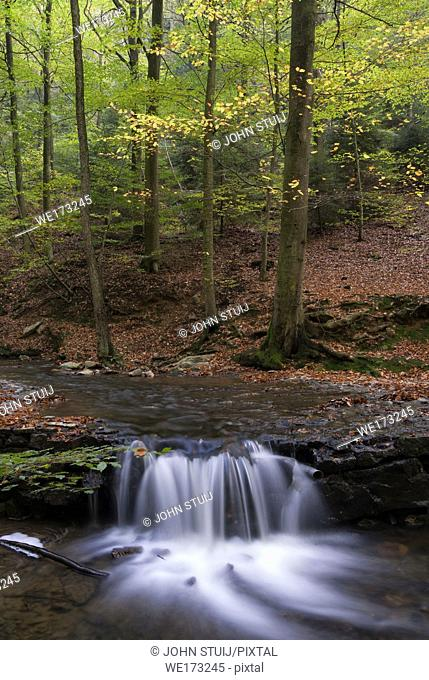 Waterfall in the Ninglinspo river near Nonceveux in the Belgian municipalit Aywaille