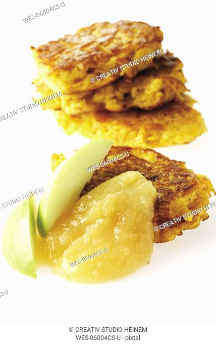 Rutabaga fritters with apple sauce, close-up