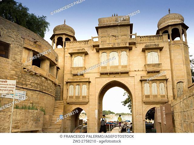 Door to access at sacred lake. Jaisalmer, Rajasthan. India