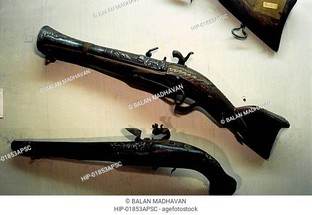 MATCH LOCK GUNS IN STATE MUSEUM, HYDERABAD, ANDHRA PRADESH,INDIA
