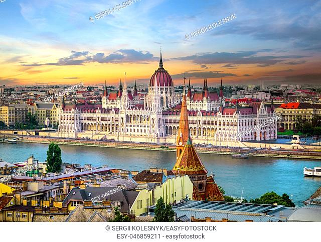 Bright sunset over famous landmarks in Budapest