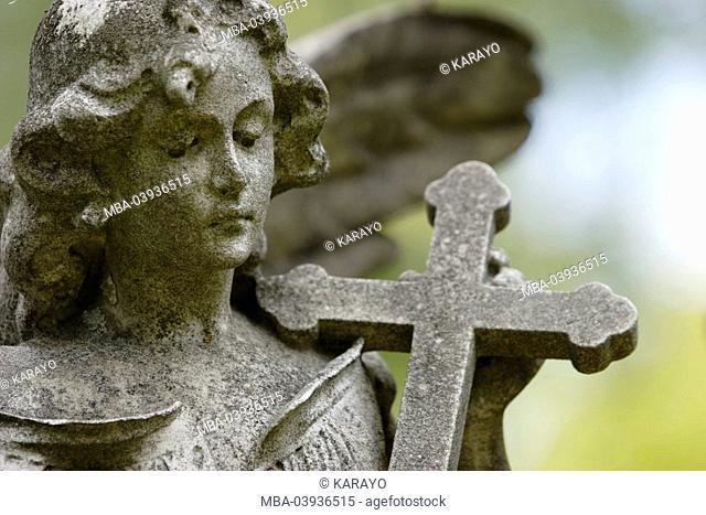 grave yard, grave, statue, angels, cross, detail