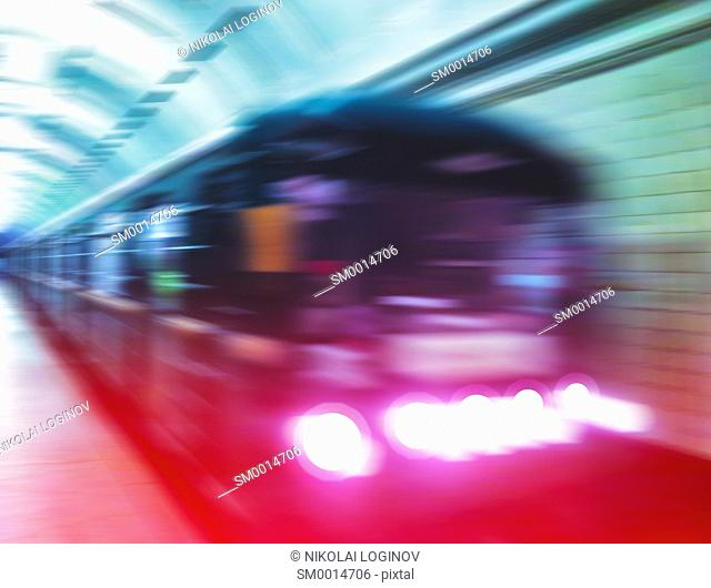 Diagonal metro train in motion abstraction background