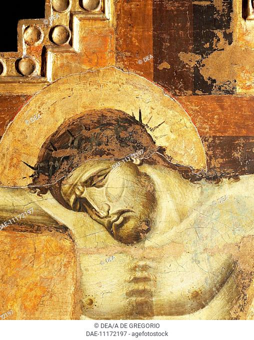 Face of Christ, detail from a crucifix painted on wood, fourth chapel on the right known as Visconti Chapel or St Thomas' Chapel, Basilica of Sant'Eustorgio