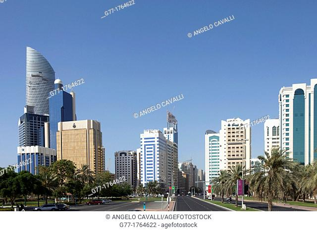 United Arab Emirates Abu Dhabi. Modern Buildings downtown Abu Dhabi