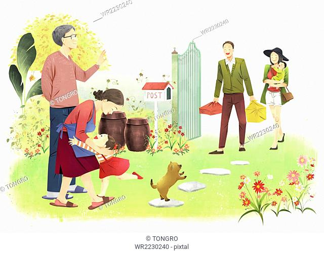 Illustration representing Korean thanksgiving day in modern days with family in fall