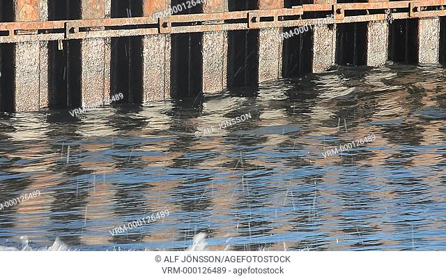 Waves at a pier