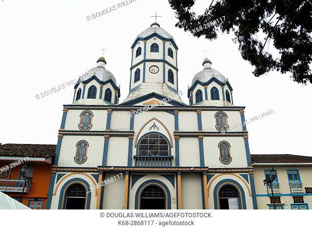 Church in the central plaza in Filandia, Colombia, South America