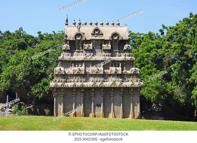 Carved temple near Krishna's Butter Ball, Mahabalipuram, Tamil Nadu, India