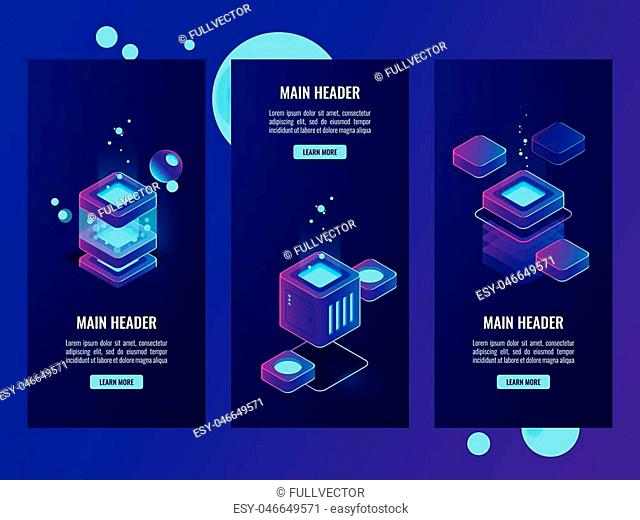 Set of server room and digital technology banners, server room, database and data center icons, cloud storage dark neon isometric vector