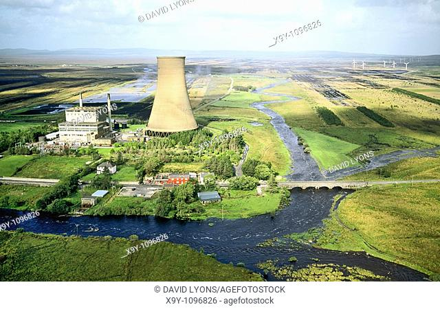 Bellacorick peat turf fired power station and wind turbines at the centre of the vast peat bog of west County Mayo, Ireland