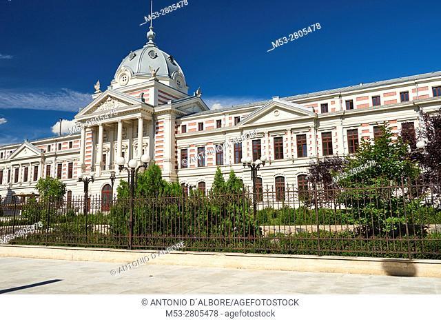 The facade of Coltea Hospital (Spitalul Coltea), built in 1704, it's the oldest hospital built in Bucharest. Bulevardul Bulevardul Ion C. Bratianu
