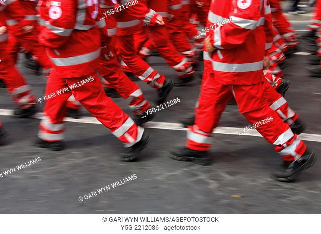 Rome, Italy 2nd June 2014 Red cross personnel marching at the 2nd June Republic Day parade in rome italy