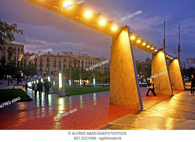 sunset on the port access walkway, Barcelona, Catalonia, Spain