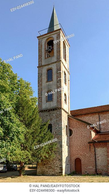 bell tower at santa Maria alla Croce Cistercian abbey, Tiglieto, Ligure inland, Italy