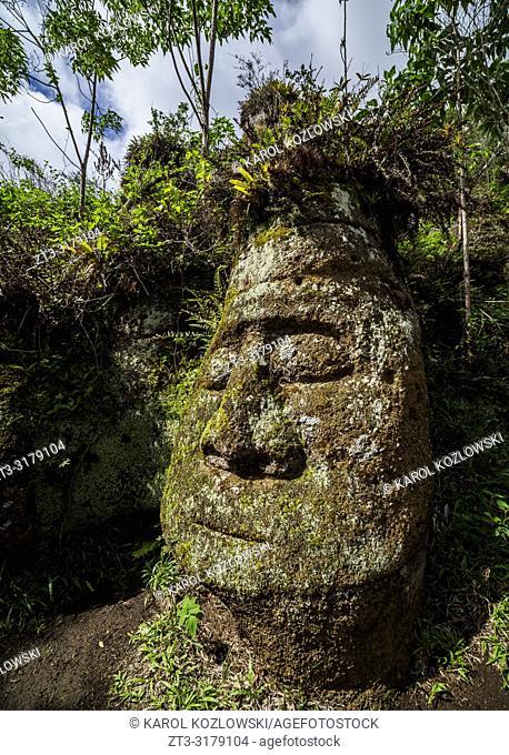 Face Sculpture in Tuff Rock, Asilo de la Paz, Highlands of Floreana or Charles Island, Galapagos, Ecuador