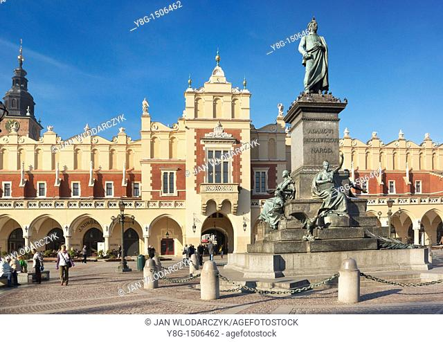 Monument of Adam Mickiewicz, Cracow - Market Square, Poland, Europe