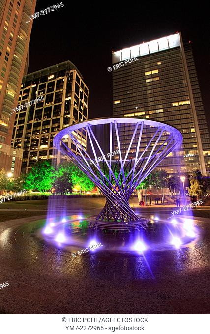 Created by artist Doug Hollis, this stainless steel sculpture is the centerpiece of the Sarofim Picnic Lawn in Houston's Discovery Green Park