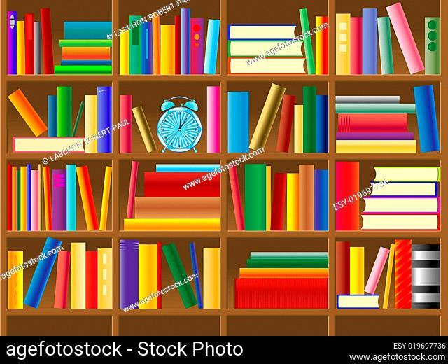 wooden bookshelf vector