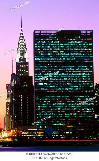 Chrysler Building and United Nation Headquarter. New York City