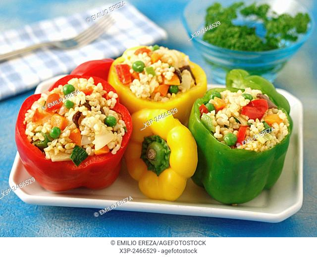 Stufeed peppers with rice and vegetables