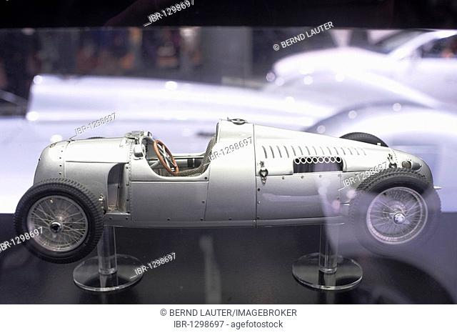 Model of an Auto Union Type C racing car from 1934 on Audi's exhibition stand during the IAA International Motor Show 2009, Frankfurt am Main, Hesse, Germany